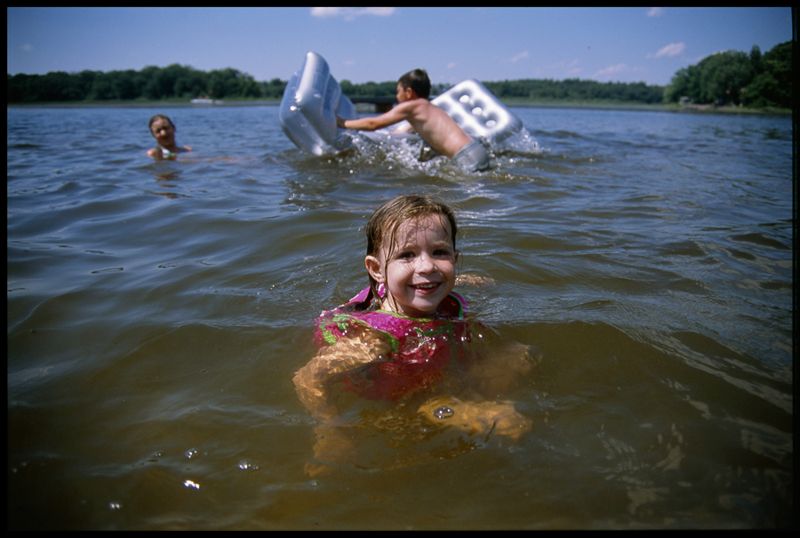 Grace swimming in Goose Lake